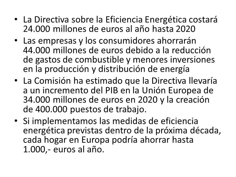 La Directiva sobre la Eficiencia Energética costará 24