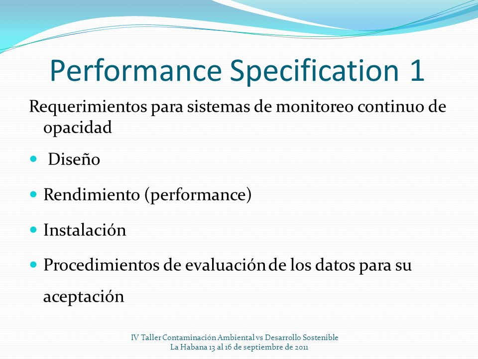 Performance Specification 1