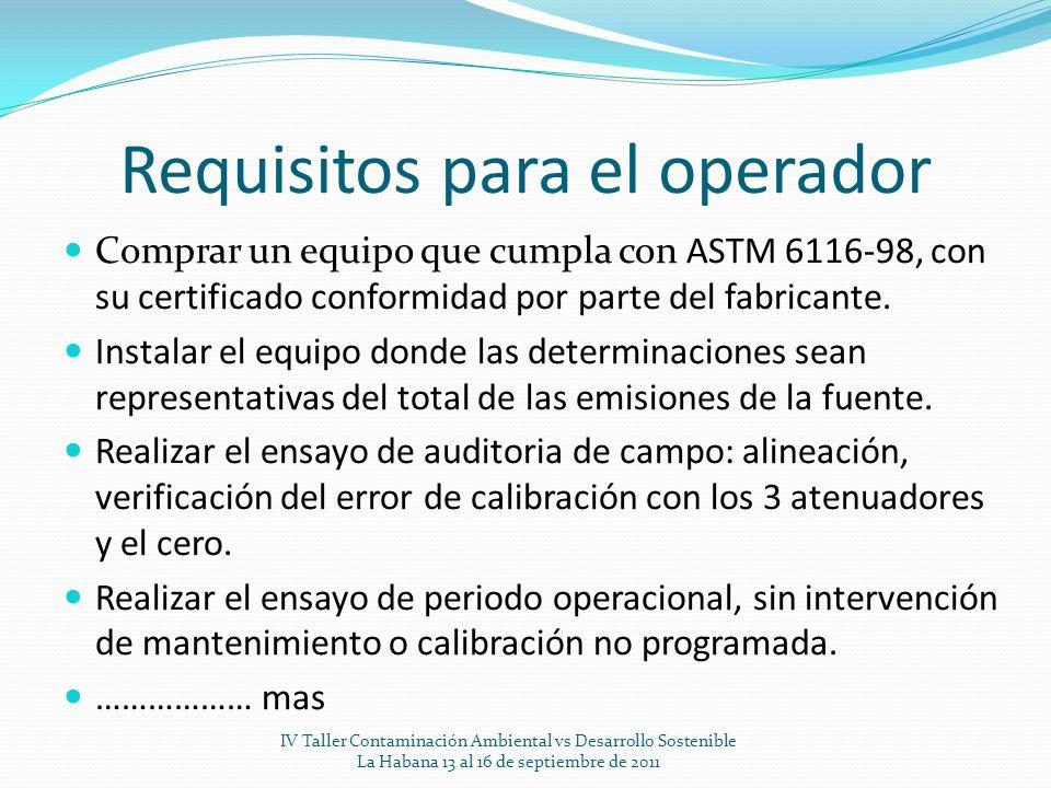 Requisitos para el operador