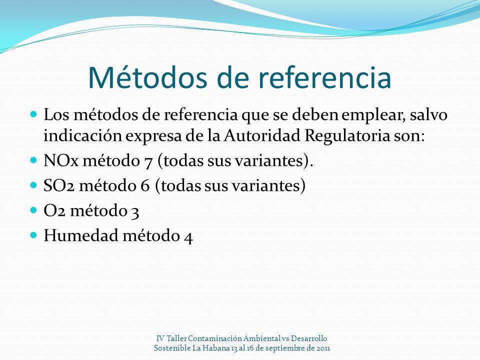 Métodos de referencia Los métodos de referencia que se deben emplear, salvo indicación expresa de la Autoridad Regulatoria son: