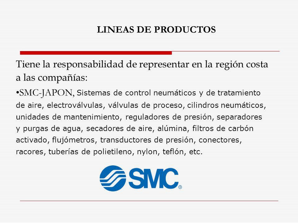 LINEAS DE PRODUCTOS Tiene la responsabilidad de representar en la región costa a las compañías: