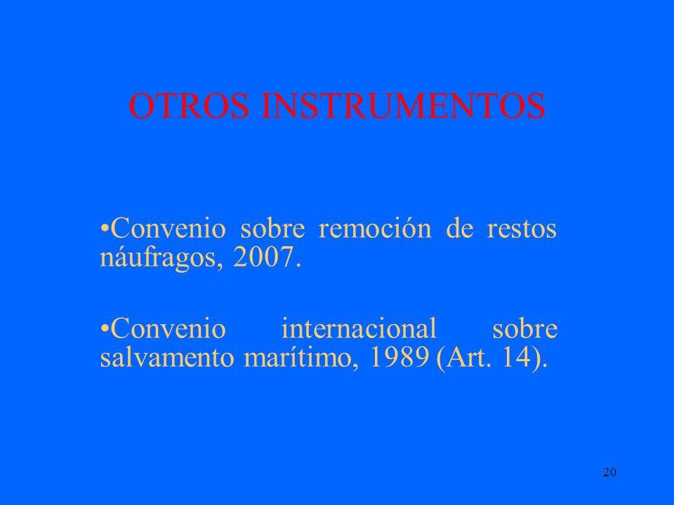 OTROS INSTRUMENTOS Convenio sobre remoción de restos náufragos, 2007.