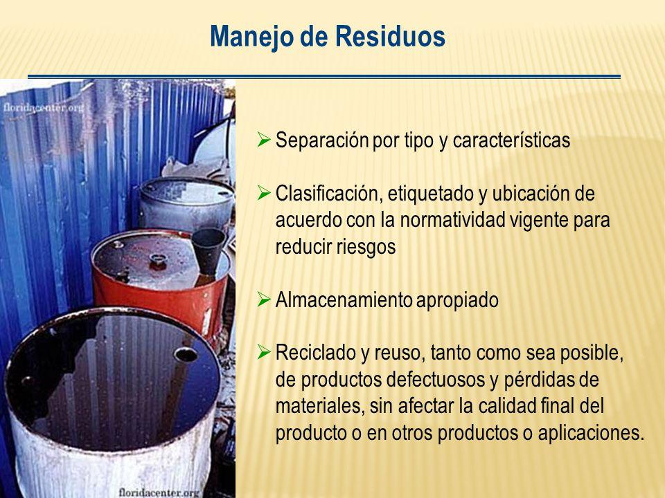 Manejo de Residuos Separación por tipo y características