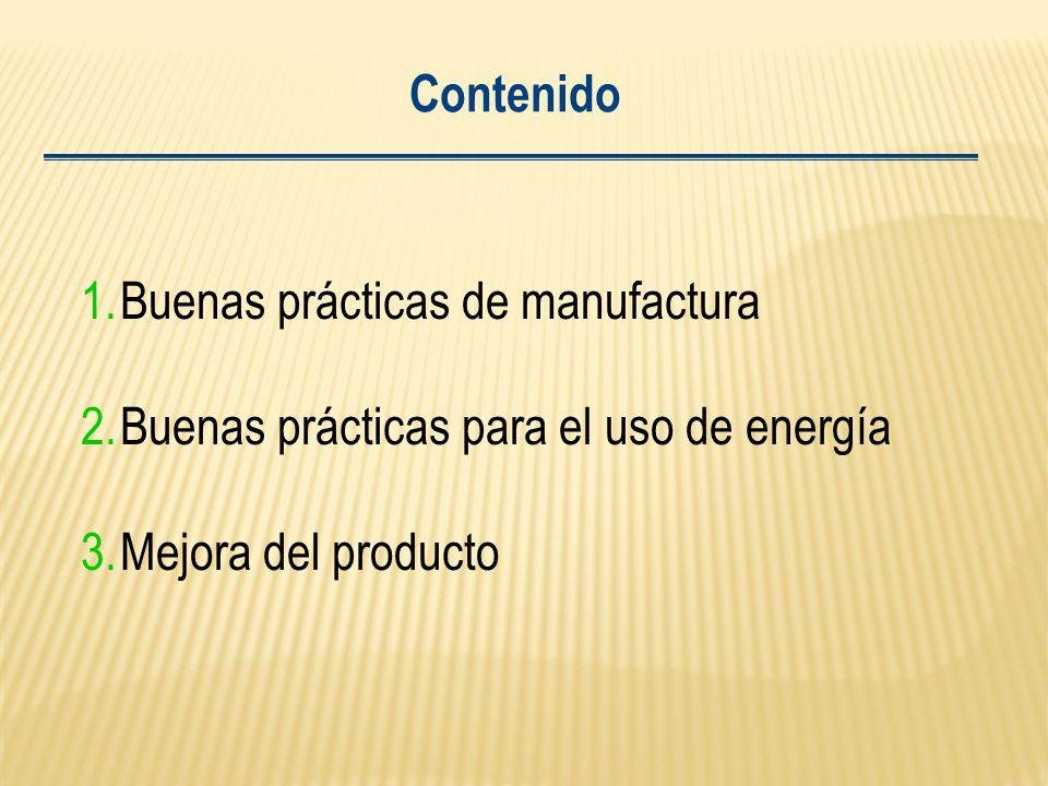 Contenido Buenas prácticas de manufactura. Buenas prácticas para el uso de energía.