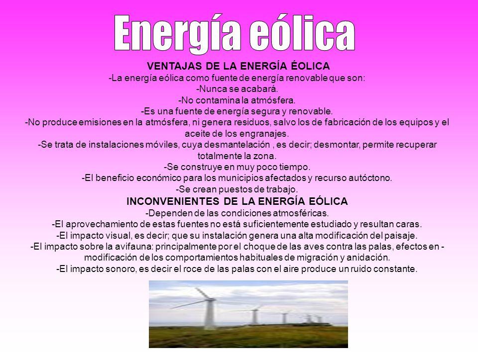 INCONVENIENTES DE LA ENERGÍA EÓLICA