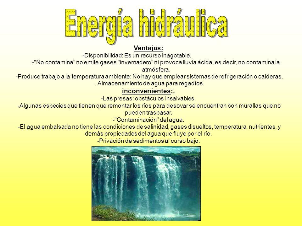 Energía hidráulica Ventajas: inconvenientes:.