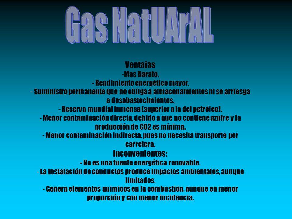 Gas NatUArAL Ventajas Inconvenientes: