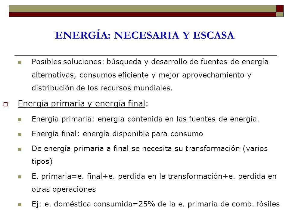 ENERGÍA: NECESARIA Y ESCASA