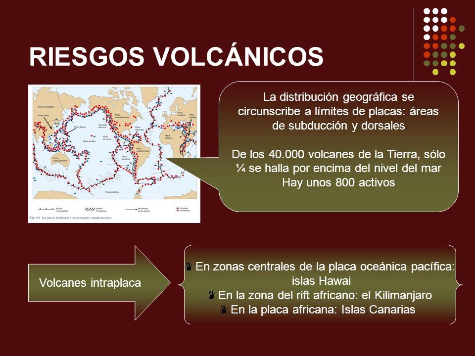 RIESGOS VOLCÁNICOS La distribución geográfica se circunscribe a límites de placas: áreas de subducción y dorsales.