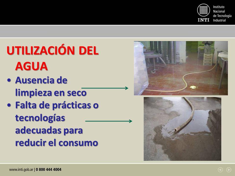 UTILIZACIÓN DEL AGUA Ausencia de limpieza en seco