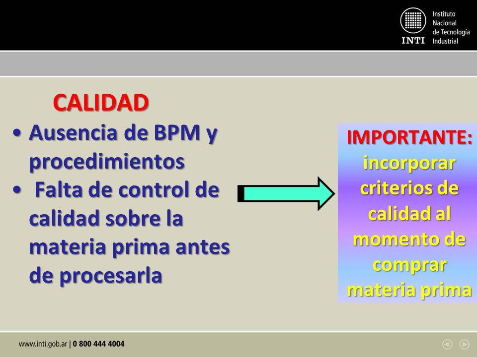 CALIDAD Ausencia de BPM y procedimientos