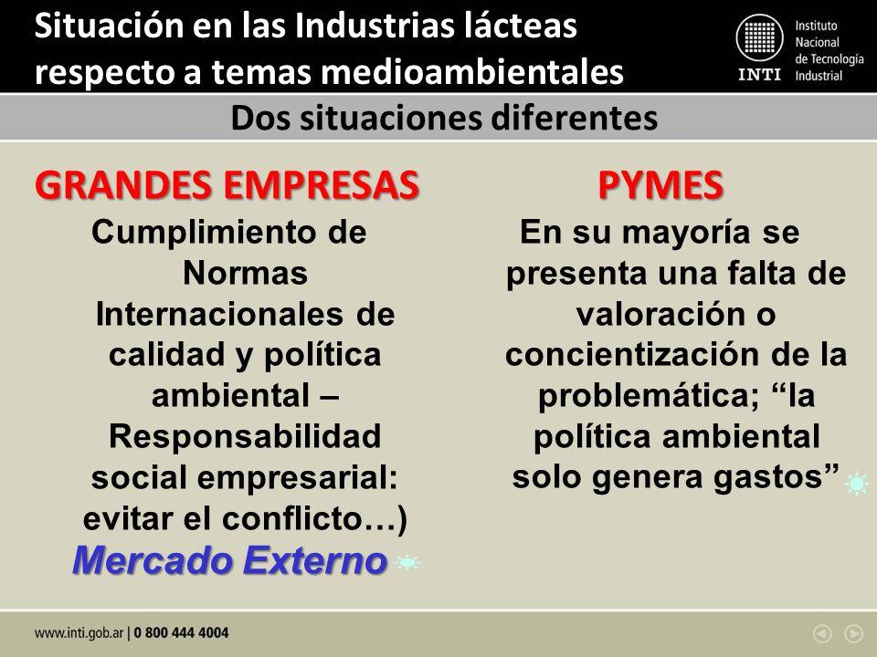 Situación en las Industrias lácteas respecto a temas medioambientales