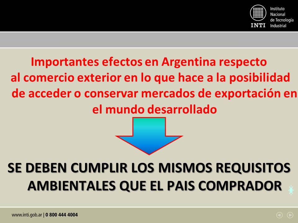 Importantes efectos en Argentina respecto