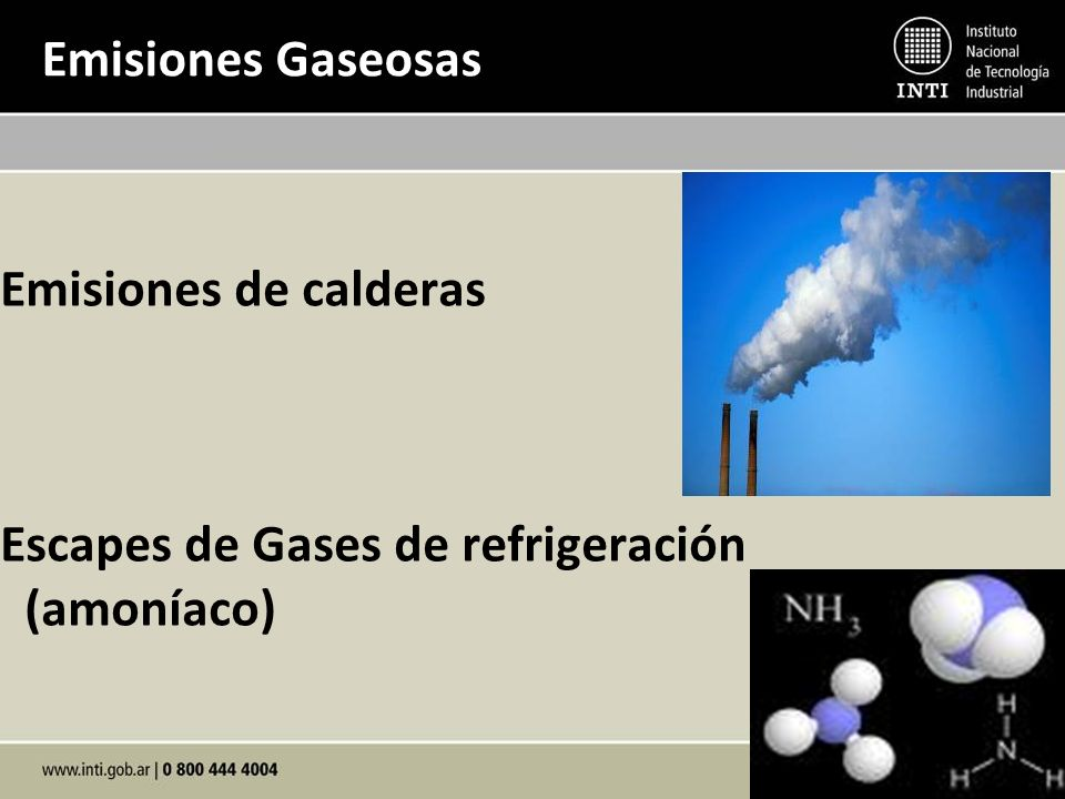 Emisiones Gaseosas Emisiones de calderas Escapes de Gases de refrigeración (amoníaco)