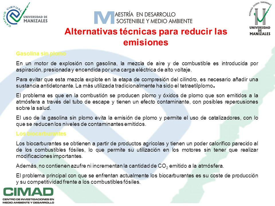 Alternativas técnicas para reducir las emisiones