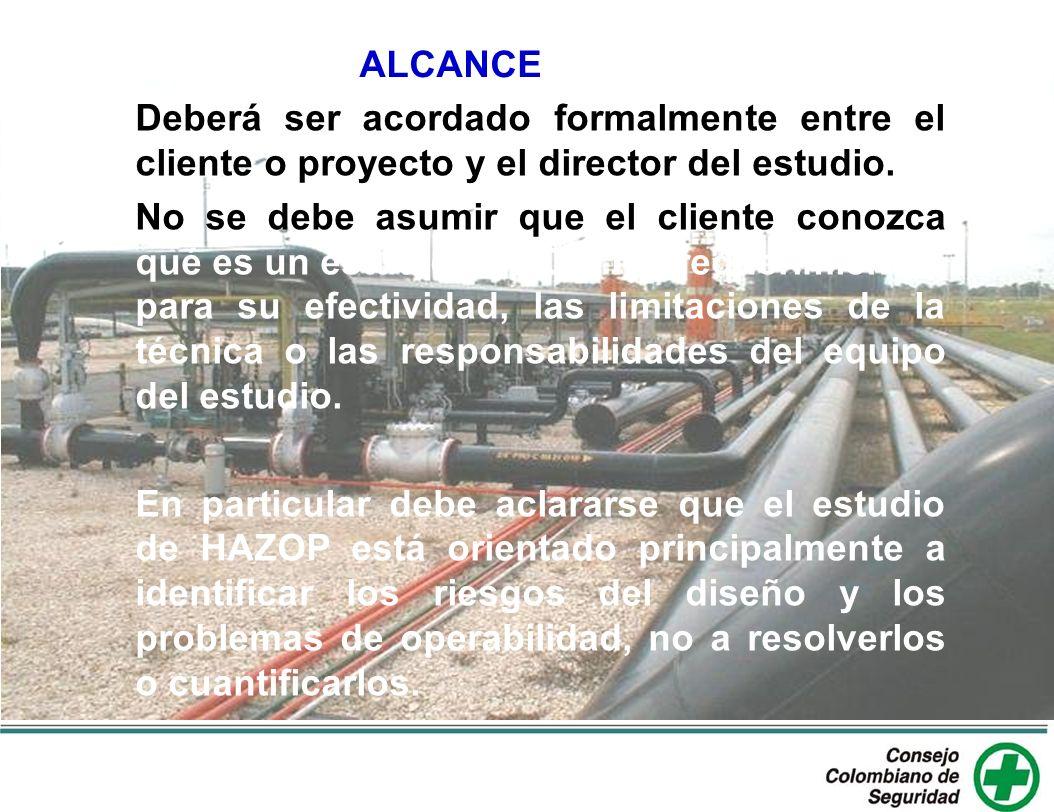 ALCANCE Deberá ser acordado formalmente entre el cliente o proyecto y el director del estudio.