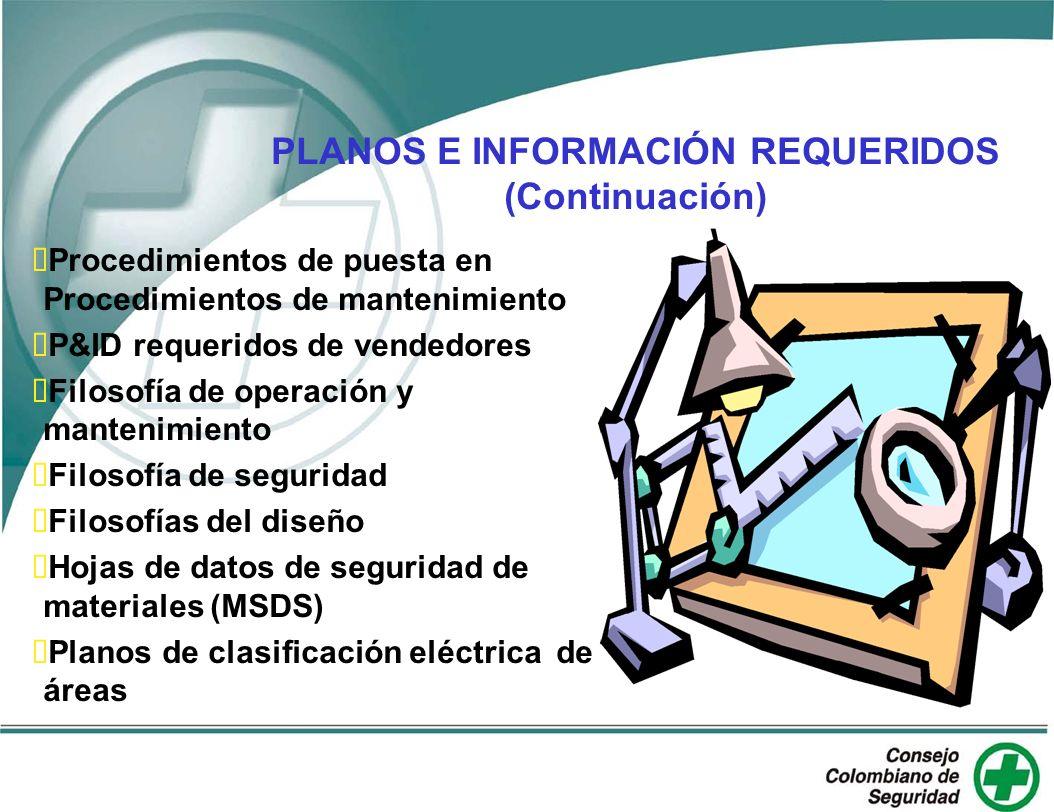 PLANOS E INFORMACIÓN REQUERIDOS (Continuación)