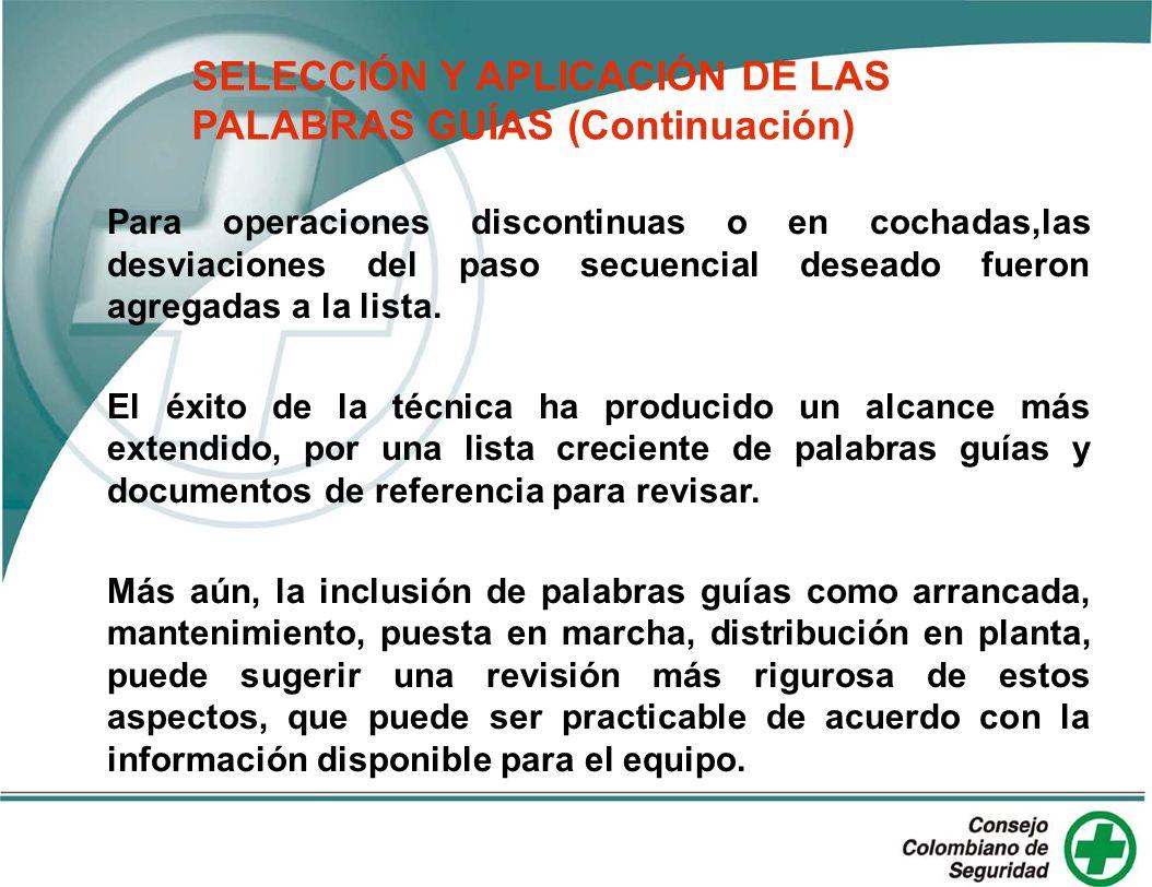 SELECCIÓN Y APLICACIÓN DE LAS PALABRAS GUÍAS (Continuación)