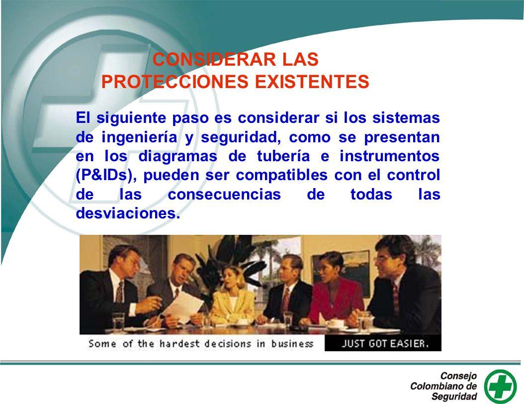 CONSIDERAR LAS PROTECCIONES EXISTENTES
