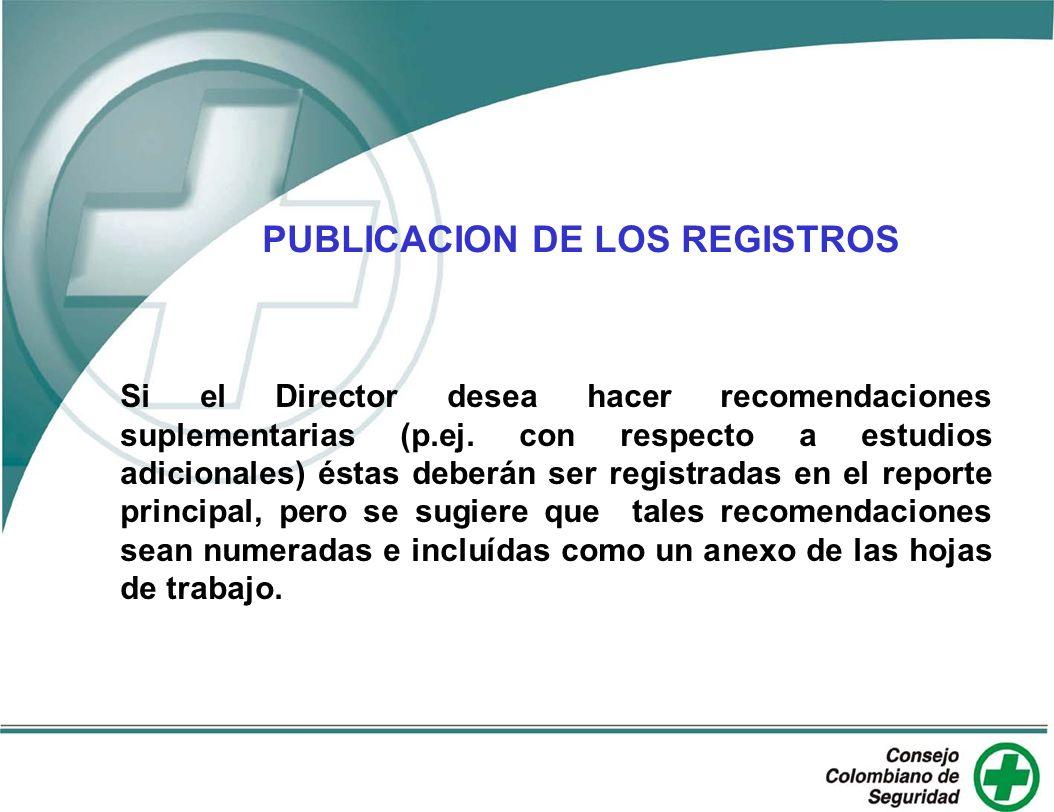 PUBLICACION DE LOS REGISTROS