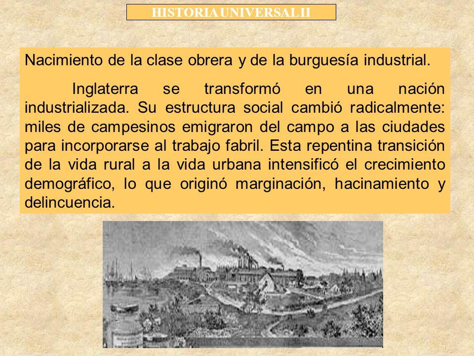 Nacimiento de la clase obrera y de la burguesía industrial.