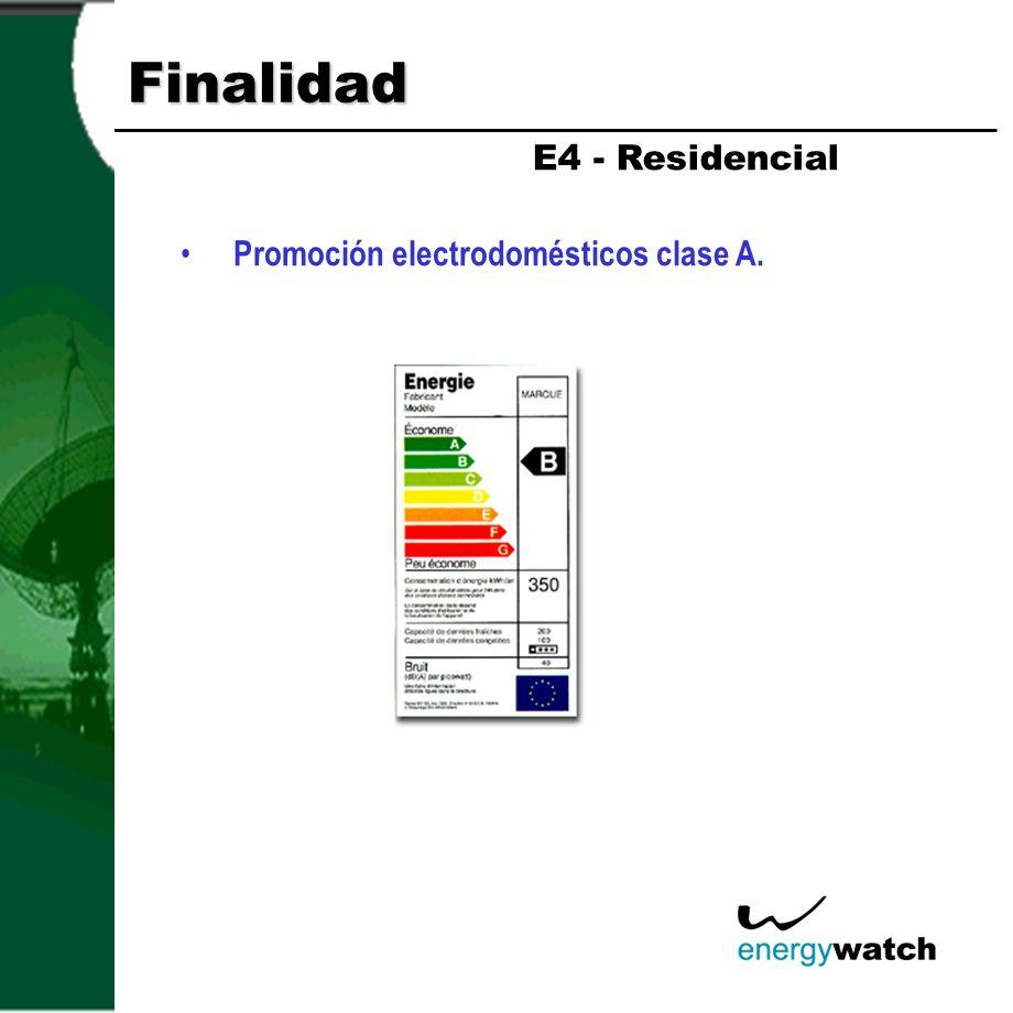 Finalidad E4 - Residencial Promoción electrodomésticos clase A.