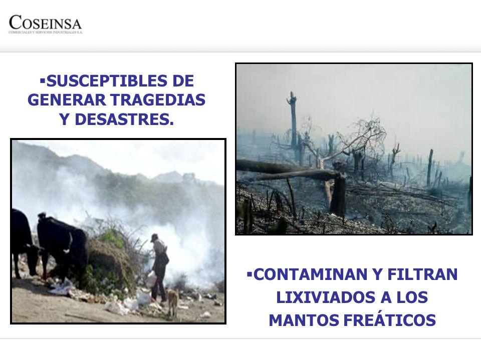 LIXIVIADOS A LOS MANTOS FREÁTICOS