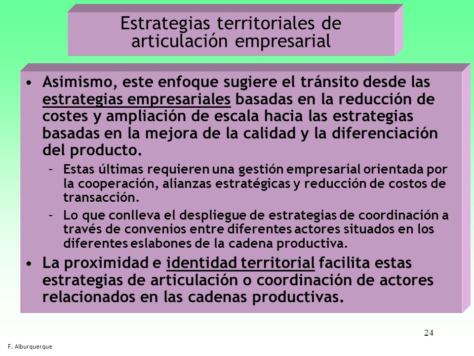Estrategias territoriales de articulación empresarial