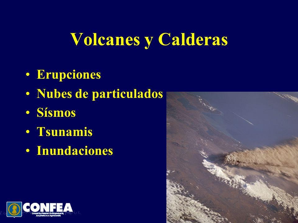 Volcanes y Calderas Erupciones Nubes de particulados Sísmos Tsunamis