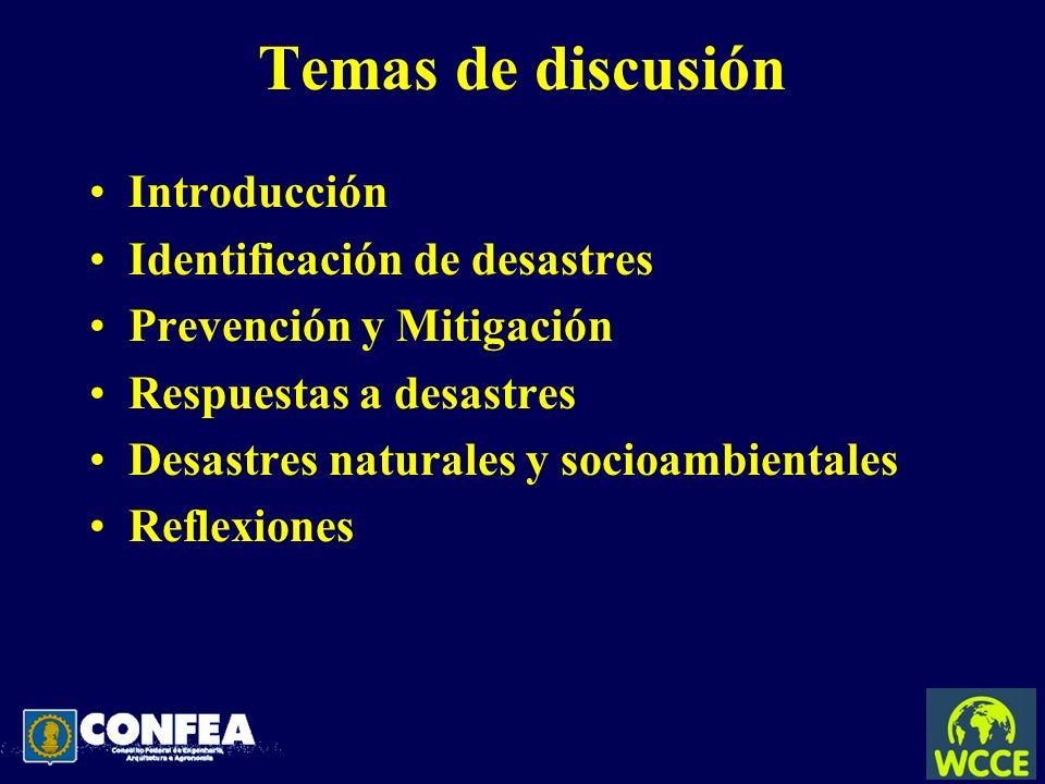 Temas de discusión Introducción Identificación de desastres