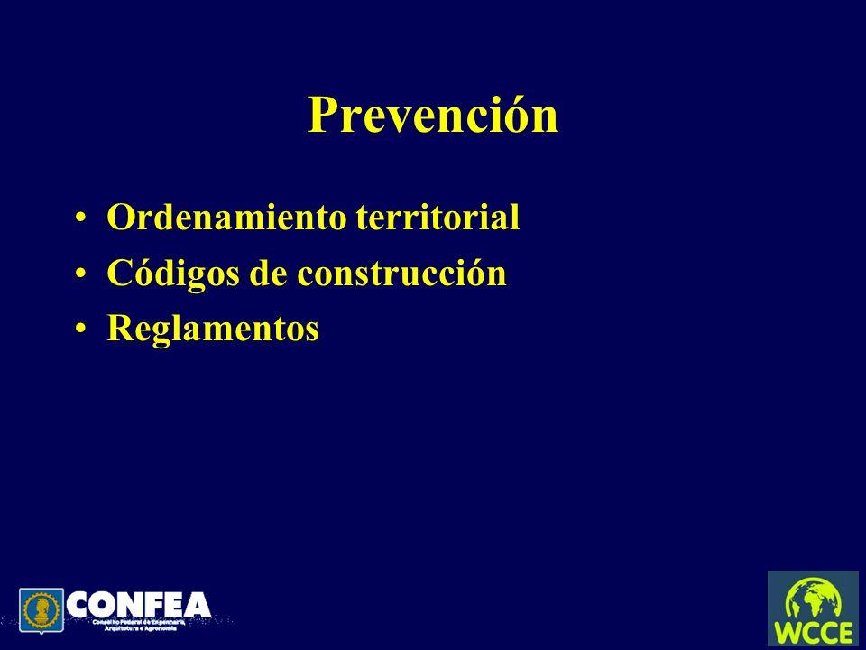 Prevención Ordenamiento territorial Códigos de construcción