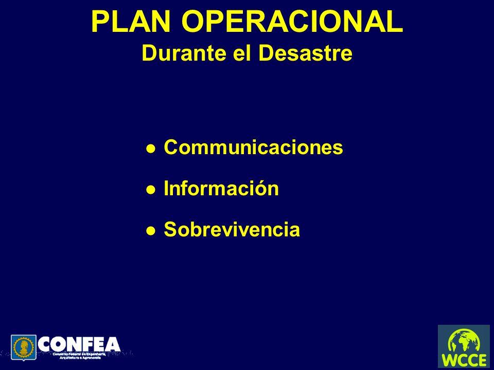 PLAN OPERACIONAL Durante el Desastre