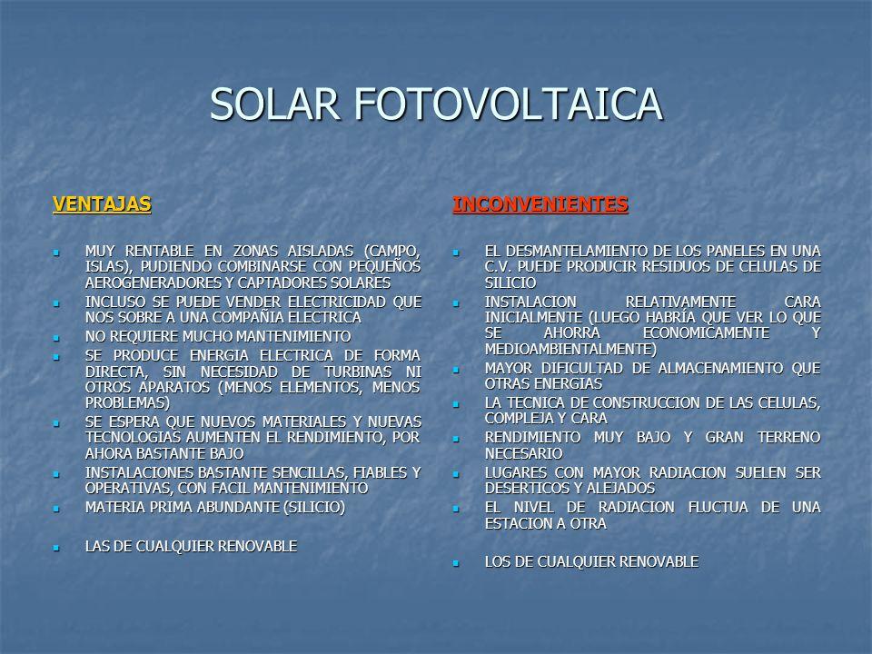 SOLAR FOTOVOLTAICA VENTAJAS INCONVENIENTES