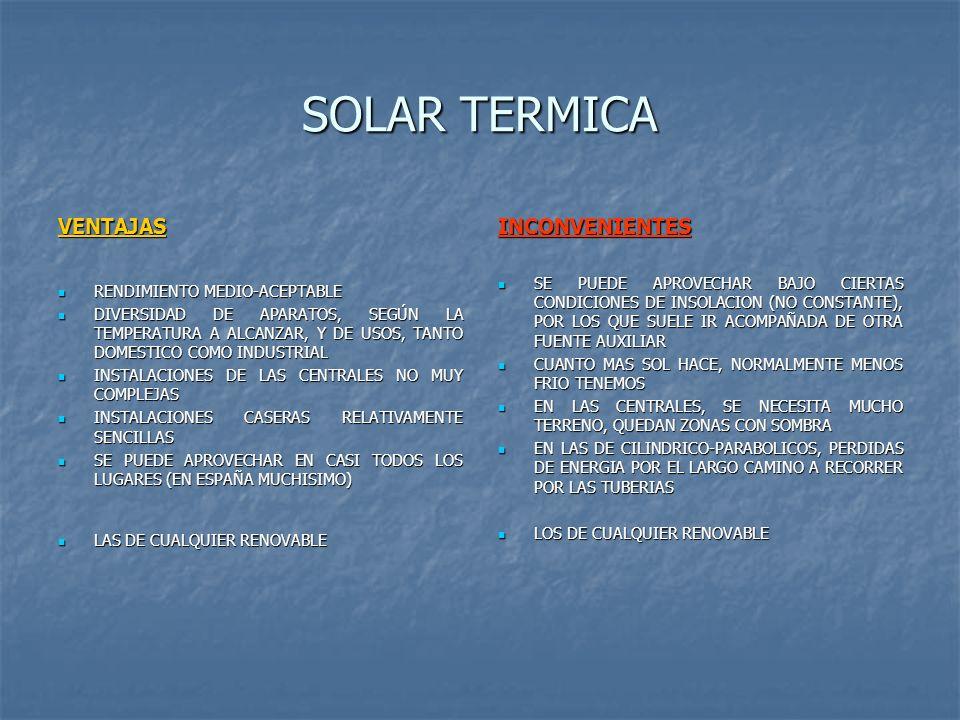SOLAR TERMICA VENTAJAS INCONVENIENTES