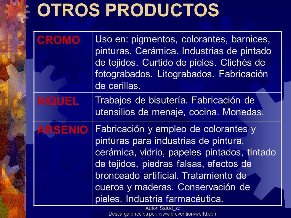OTROS PRODUCTOS CROMO NIQUEL ARSENIO