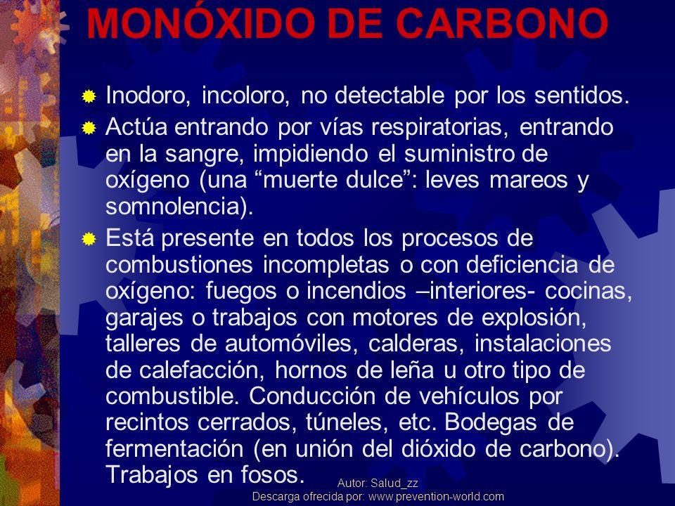 MONÓXIDO DE CARBONO Inodoro, incoloro, no detectable por los sentidos.