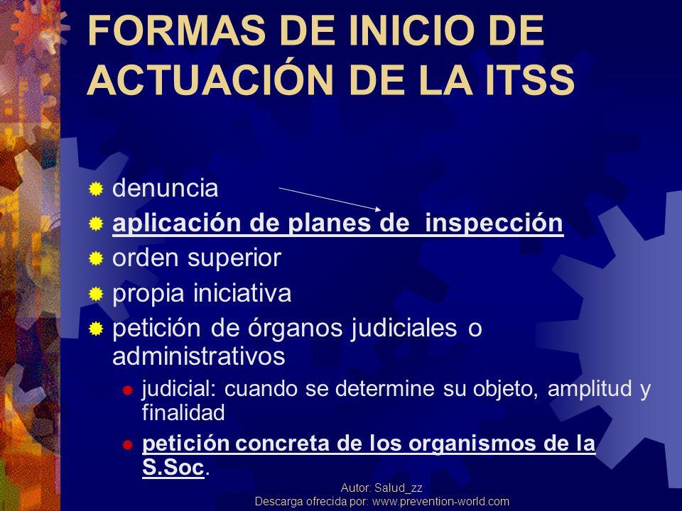 FORMAS DE INICIO DE ACTUACIÓN DE LA ITSS