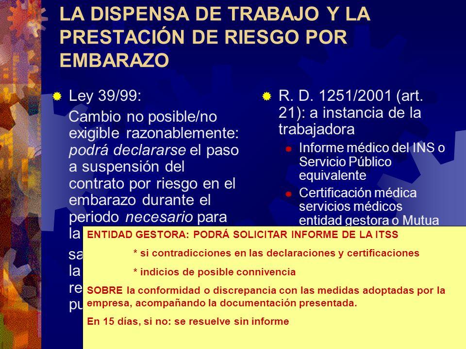 LA DISPENSA DE TRABAJO Y LA PRESTACIÓN DE RIESGO POR EMBARAZO