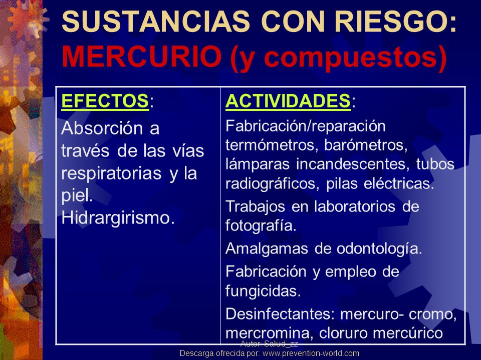 SUSTANCIAS CON RIESGO: MERCURIO (y compuestos)