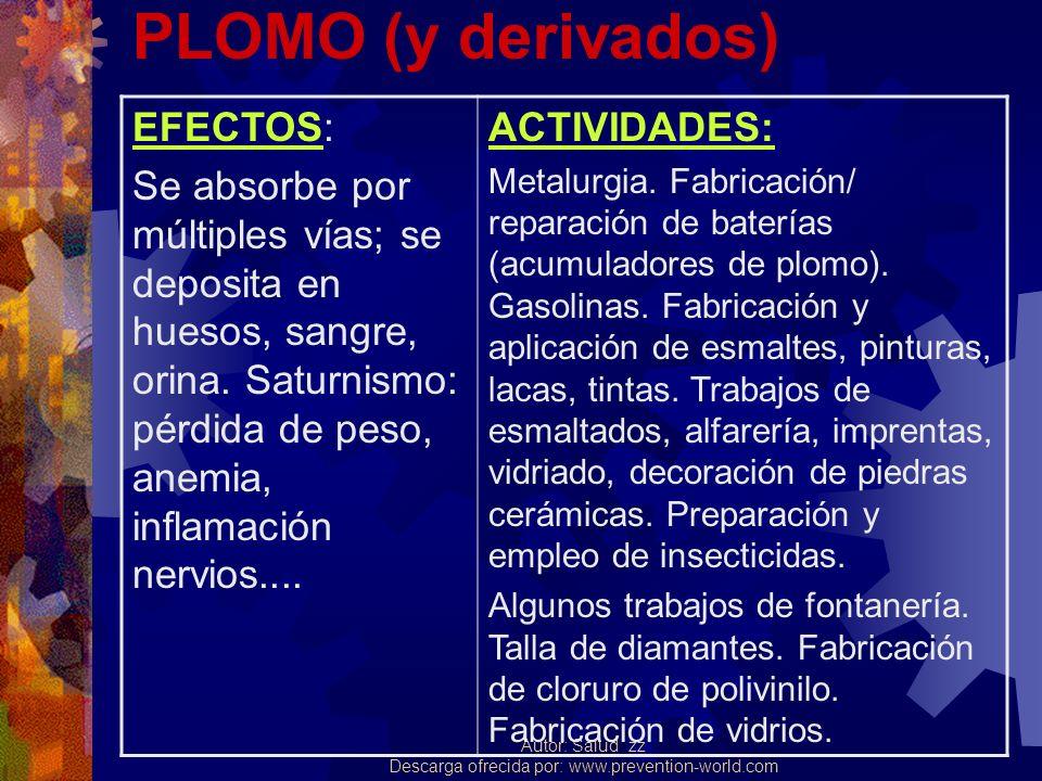 PLOMO (y derivados) EFECTOS: