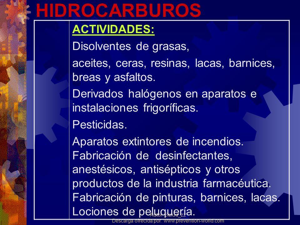 HIDROCARBUROS ACTIVIDADES: Disolventes de grasas,
