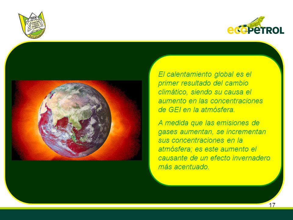 El calentamiento global es el primer resultado del cambio climático, siendo su causa el aumento en las concentraciones de GEI en la atmósfera.
