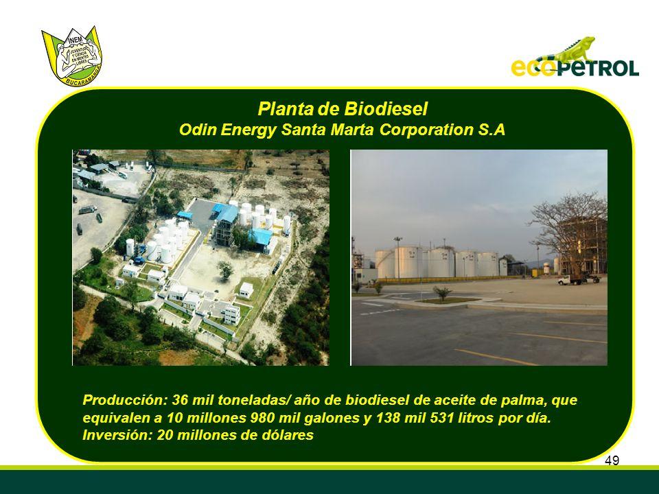 Planta de Biodiesel Odin Energy Santa Marta Corporation S.A