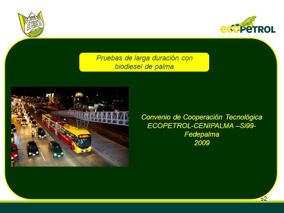 Pruebas de larga duración con biodiesel de palma
