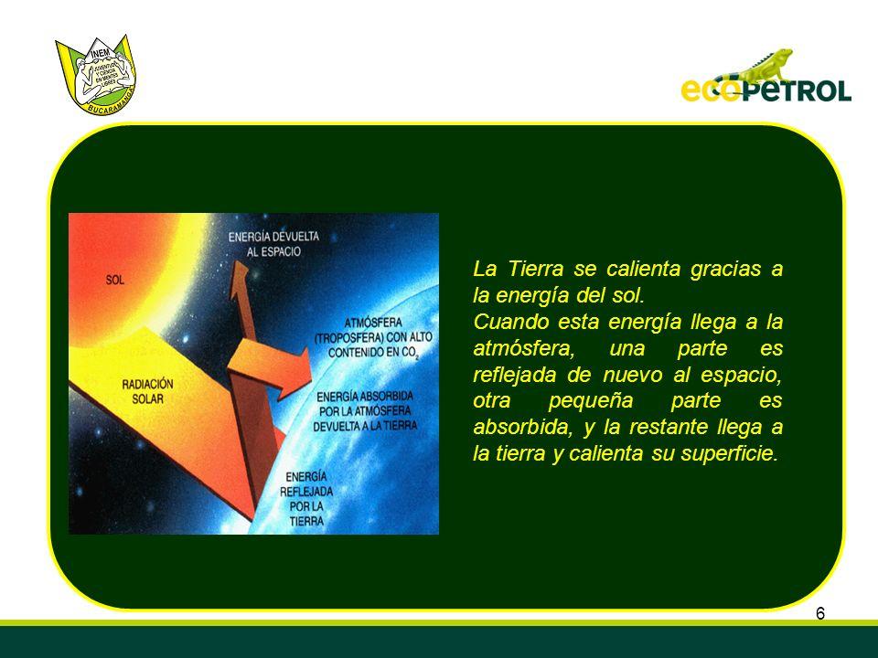 La Tierra se calienta gracias a la energía del sol.
