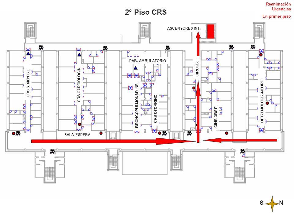 2° Piso CRS S N Reanimación Urgencias En primer piso ASCENSORES INT.