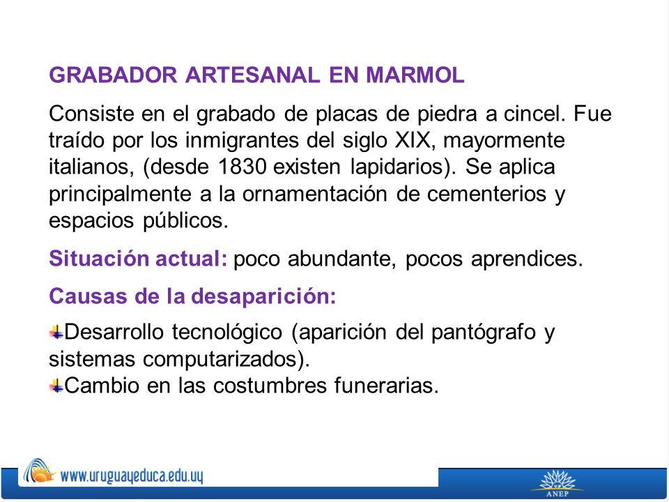 GRABADOR ARTESANAL EN MARMOL