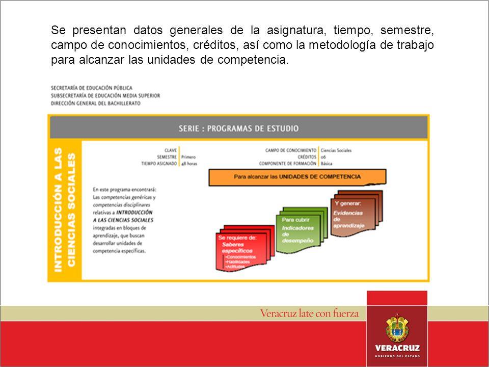 Se presentan datos generales de la asignatura, tiempo, semestre, campo de conocimientos, créditos, así como la metodología de trabajo para alcanzar las unidades de competencia.