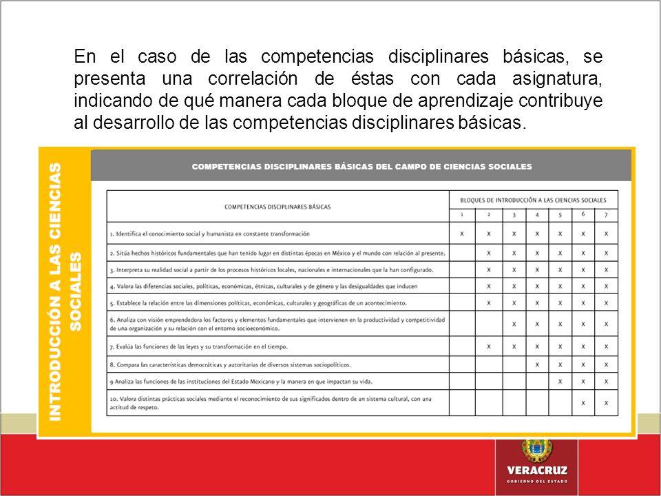 En el caso de las competencias disciplinares básicas, se presenta una correlación de éstas con cada asignatura, indicando de qué manera cada bloque de aprendizaje contribuye al desarrollo de las competencias disciplinares básicas.