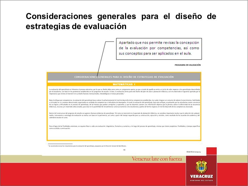 Consideraciones generales para el diseño de estrategias de evaluación